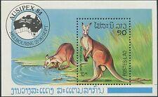 LAOS Bloc N°83 ** Bf  Bf kangourou, marsupial, 1984, kangaroos Sheet Sc #598 MNH