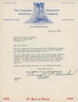 1943 Carpenter Mutual Fire Insurance Co. Letterhead Curwensville PA Pennsylvania