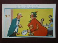 POSTCARD COMIC HE - YOU CAN BRING THAT IN THE CAFÉ - SHE I WILL PUT IT UNDER MY