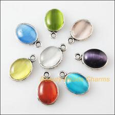 8 New Retro Charms Tibetan Silver Cat Eye Stone Oval Pendants Mixed 9.5x14.5mm