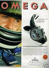 Publicité advertising 1996 La Montre Omega Speedmaster Avec Michael Schumacher