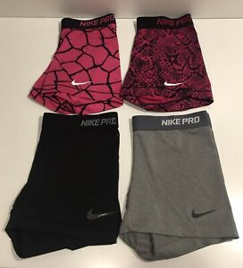 "Nike Pro Lot of 4 Women's Dri-Fit Spandex/Compression Shorts 3"" Inseam Size M"