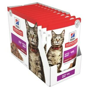 Hills Science Diet Adult Beef Cat Food Pouches 12x85g