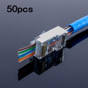 50 X RJ45 Network LAN CAT5e Cat6 Cable End Crimp Plug Connector GOLD Pins Bulk