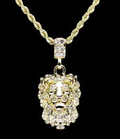 "Lion Head Pendant 14k Gold Plated Cz w/ 24"" Rope Chain Hip Hop Necklace"