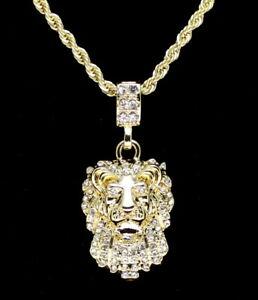 "Lion Head Pendant 14k Gold Plated Cz w/ 24"" Rope Chain Hip Hop Necklace"