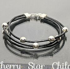Natural black leather bracelet with sterling 925 silver balls, fittings & clasp