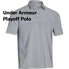 Mens Under Armour Playoff Stripe Golf Polo Shirt 1283706 100 Xxl White/Gray