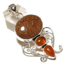 Shiny Sunstone, Carnelian Gemstone silver plated Handmade Artisan Boho Pendant