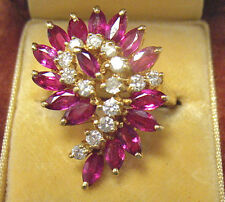 14K GOLD RUBY DIAMOND CLUSTER RING 3 CARATS TOTAL SIZE 6.25   7.1 GRAMS