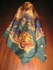 Fall Leaves & Fruit Large Scarf Very Colorful 34x35 Gently Worn