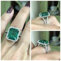 6Ct Emerald Cut Green Emerald Solitaire Engagement Ring 14K White Gold Finish