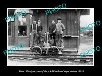 OLD LARGE HISTORIC PHOTO OF BOON MICHIGAN THE RAILROAD DEPOT STATION c1910