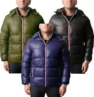 Mens Bubble Coat Puffer Contrast  Jacket Padded Hooded Down Outdoor Warm Winter