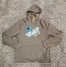 Reebok San Jose Sharks Center Ice Collection Gray Hoodie Sweatshirt Sz XL