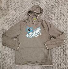 Reebok San Jose Sharks Center Ice Collection Gray Hoodie Sweatshirt Sz XL