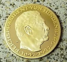 German Karl Goetz Medal Medallion coin Hindenburg 50 years 1927 24K Gold clad