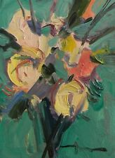 JOSE TRUJILLO OIL PAINTING BRIGHT FLOWERS FLORAL GREEN WHITE PINK BOUQUET COA NR