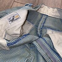 Vtg 50s 60s Mens 31 29 Pants LEE MR Fastbacks Slacks Blue Plaid Midcentury Mod