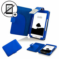 In pelle BLU CASE COVER CON LUCE LED Amazon Kindle 2016 SCREEN PROT. & Stylus