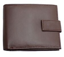 Mens RFID Real Leather Wallet With Zip Coin Pocket Pouch And ID Window 44 Brown