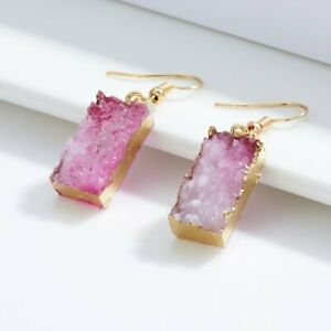 Charm Jewelry Pink Stone Natural Resin Crystal Ear Hook Earrings Women Party Hot