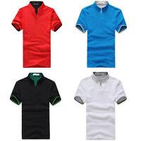 Stylish New Cotton Mens Stand Collar POLO Shirt Blend Short Sleeve Tee T-shirt