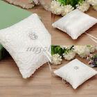 Wedding Ceremony Ivory Satin Crystal 6inch Flower Ring Bearer Pillow Cushion
