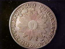 SOUTH PERU  SUNFACE 8 REALES 1838 MS, CUZCO NEARLY EF