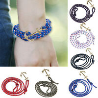 Women Men Love's Cuff Jewelry Wristband Gold Anchor Ropes Bangle Alloy  Bracelet