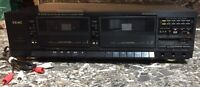 Teac W-450R Stereo Double Auto-Reverse Cassette Deck Player Recorder Used Works