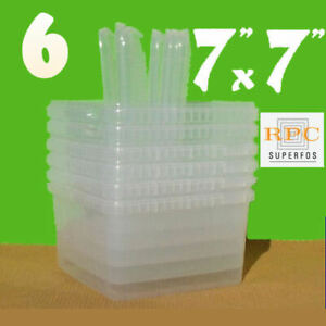 "6 Superfos UniPak Clear Plastic Containers 4¼""x7¼""x7¼"" + 6 Snap-On Lids"