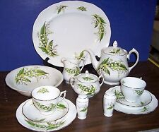 "15 pc. MELBA LILY OF THE VALLEY TEA POT 4 CUP 7"" -PLATTER 13""-SERVING DISH 8.25"""