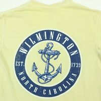 Comfort Colors Wilmington NC T-Shirt SMALL Faded Yellow Anchor Beach Vacation