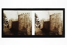 Provins Vieux Remparts France Photo C40 stereo Plaque de verre Vintage 1927