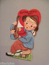 Vtg Valentine Card Cute Little Boy Guitar Player 40's 50's