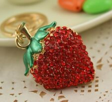 Strawberry Red Lovely Charm Pendent Accesories Crystal Purse Bag Key Chain Gift