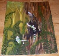FAIRY FAIRIES BROWN BURMESE CARVED CATS TREE HOUSE FOREST GARDEN FERNS PAINTING