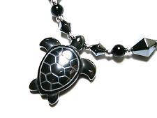 "turtle hematite necklace - 18"" black Hematite beads turtle pendant necklace"