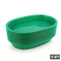 12pcs Black Fast Food Platter Plastic Basket Dinner Plates Tray Restaurant 10.5'