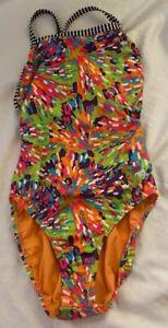 Womens Dolfin Uglies Colorful Orange Sprinkles Swimsuit Racer Back 32 S
