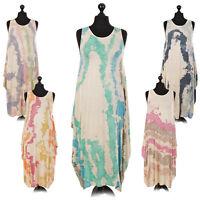Ladies Italian Splash Print Lagenlook Dress Women Draped Sleeveless Long Top