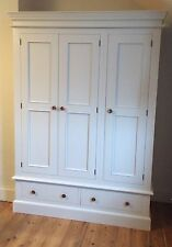 Painted Edwardian Triple Wardrobe over 2 drawers