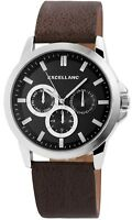 Excellanc Herrenuhr Anthrazit Braun Chrono-Look Kunst-Leder Quarz X2900072005