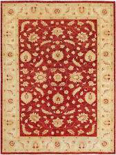 6X9 Hand-Knotted Oushak Carpet Traditional Red Fine Wool Area Rug D46390