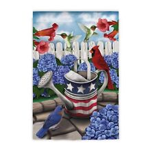 All American Garden Patriotic Usa Stars & Stripes Birds & Flowers Summer Lg Flag