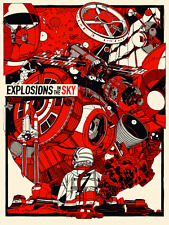 Explosions In The Sky Concert Poster - Red - Tyler Stout - Limited Edition of 60