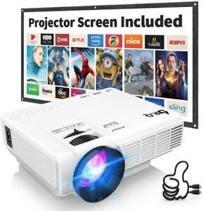 Dr. Q hi-04 Projektor mit Leinwand 1080p Full HD unterstützt-weiß