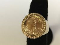 22 KT 1/10oz US LIBERTY COIN SET IN 14 KT SOLID YELLOW GOLD GREEK KEY COIN RING