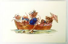 Artist Pamela Sampson Anthropomorphic Mouse Mice Family In Row Boat Postcard